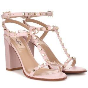 Valentino Rockstud T Strap Block Heel Sandals